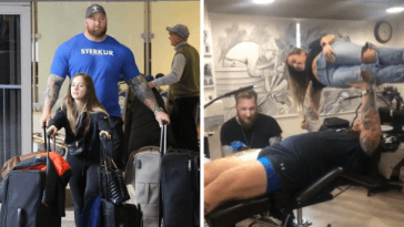 'The Mountain' from 'Game of Thrones' bench pressed his tiny wife while getting a tattoo